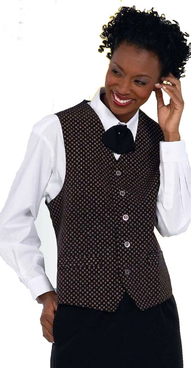 Get this black and gold patterned vest for your employees!