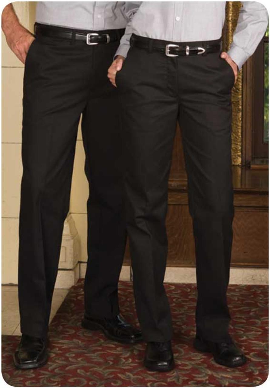 Flat front uniform pants for men and women