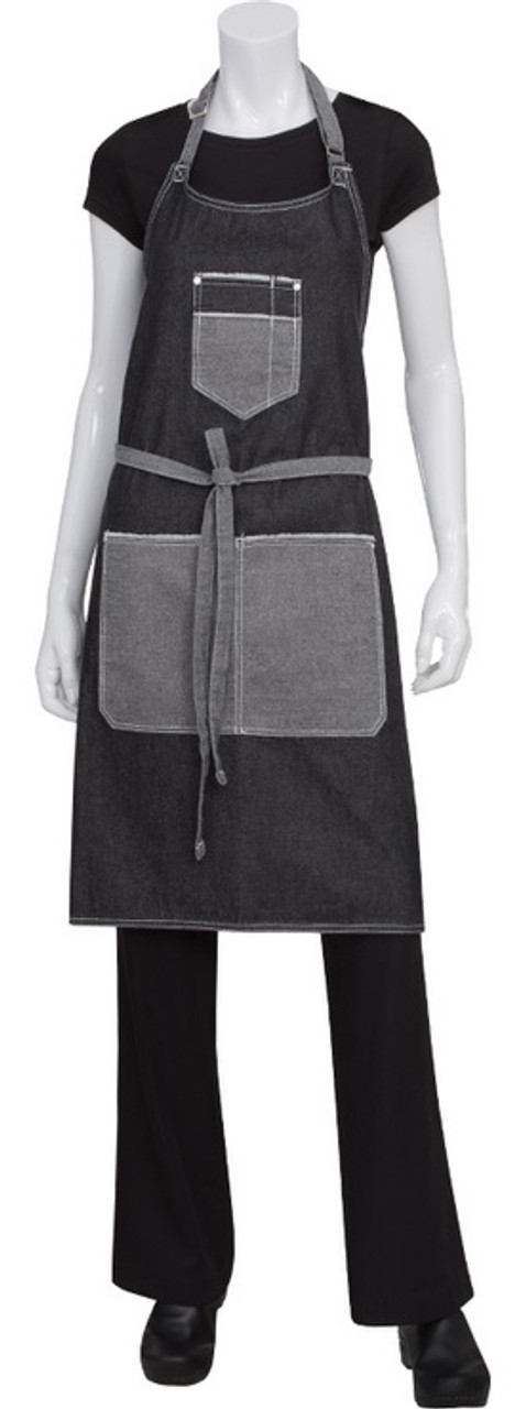 Full bib apron with chest pocket and two waist pockets