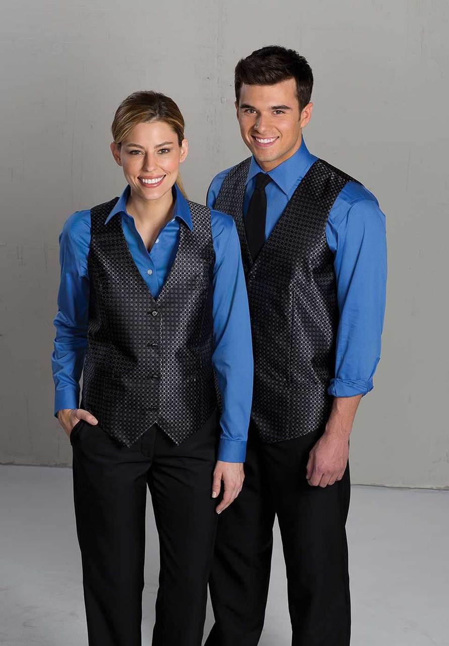 Black uniform vest for casino employees