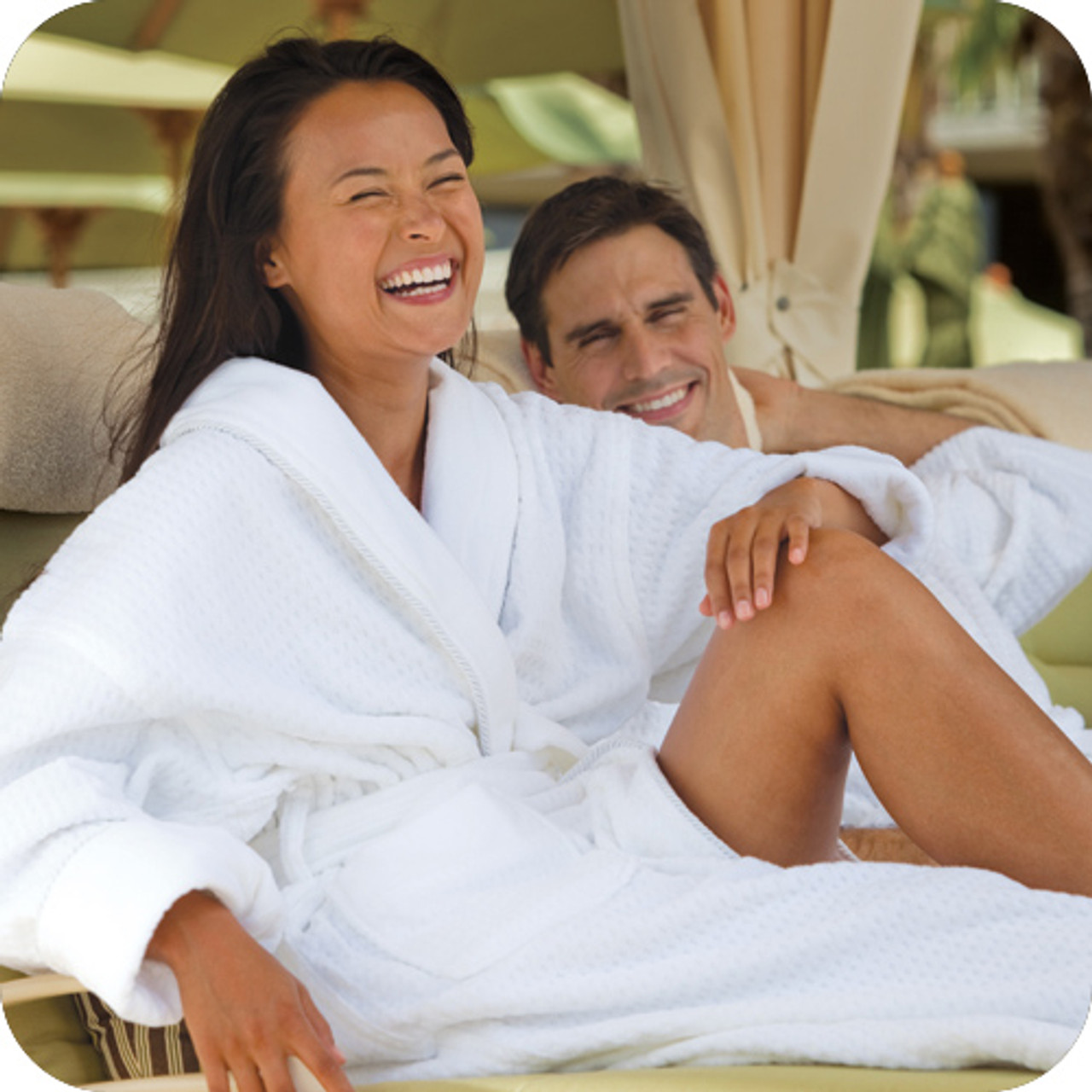 Checkered fabric is a great look for hotel robes