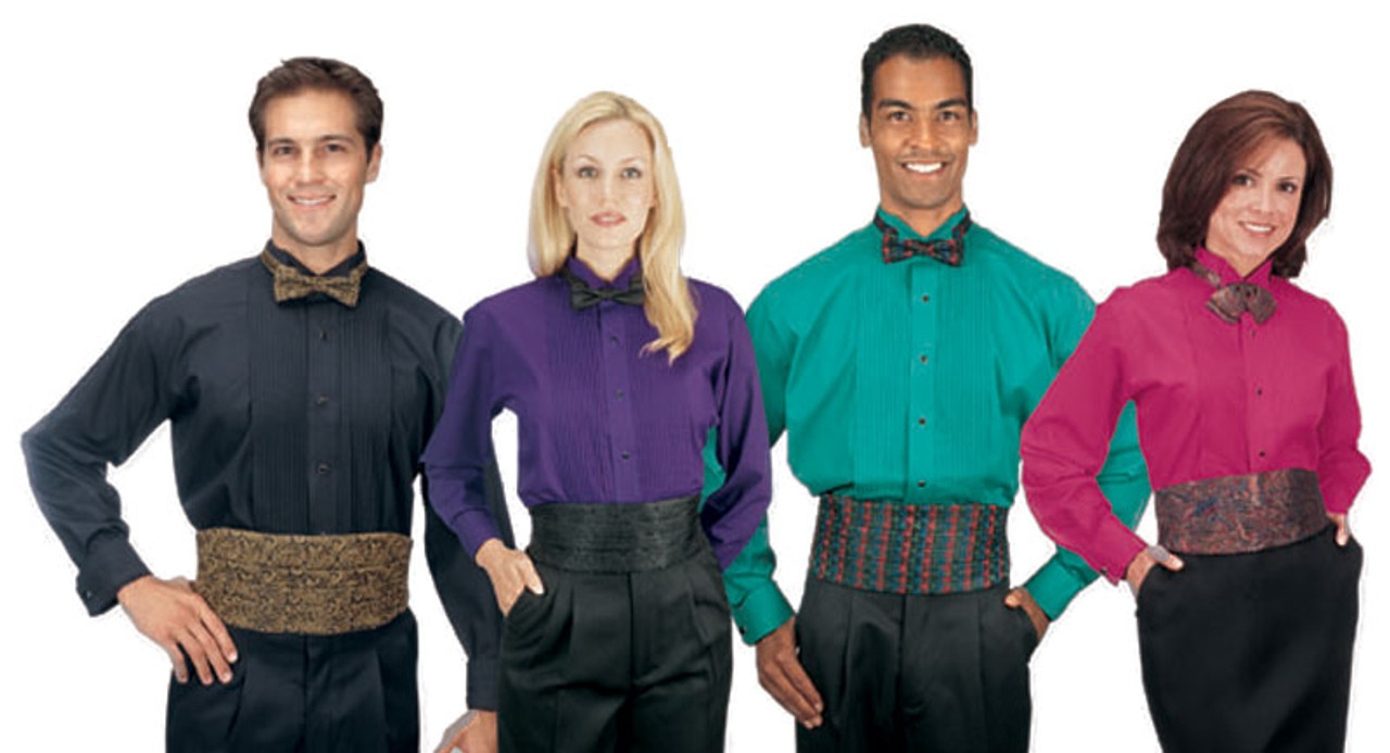 A variety of colors for this flashy tuxedo shirt