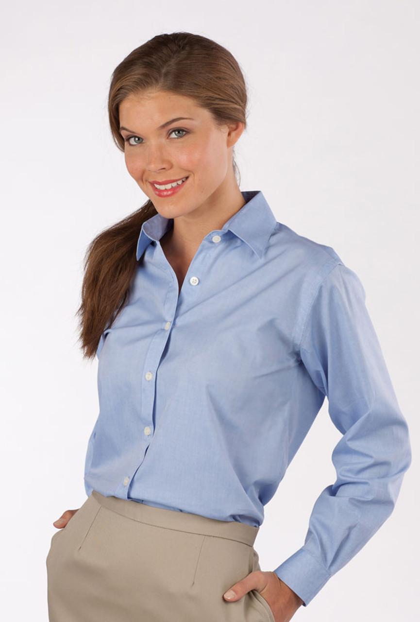 Women's long sleeve blue uniform shirt