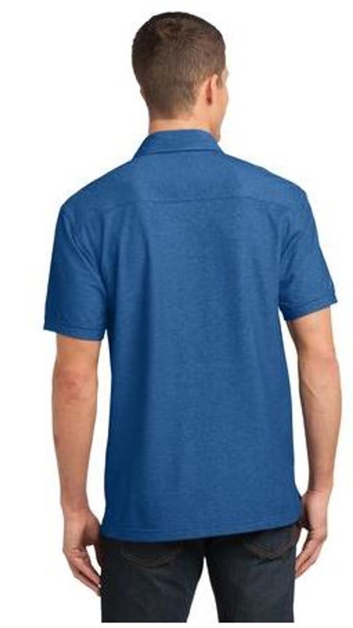 Marina blue double pocket polo
