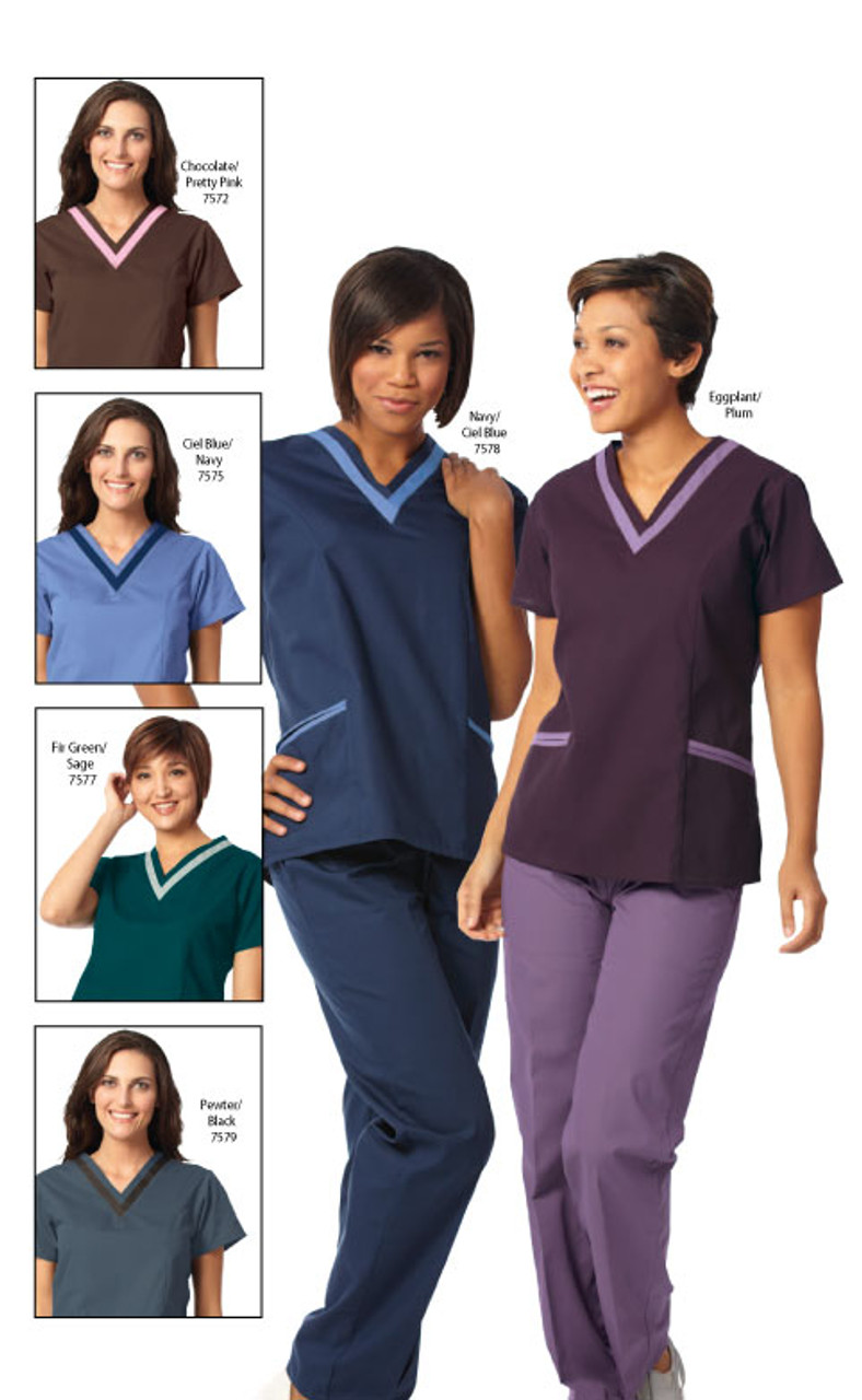 Double v-neck for a visual appeal on this scrub shirt