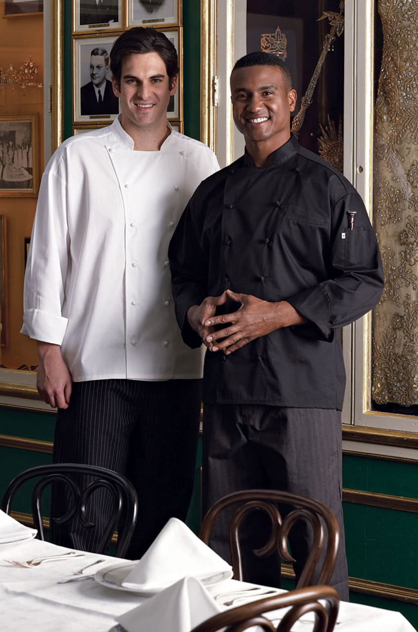 This cotton chef coat is available in white and black