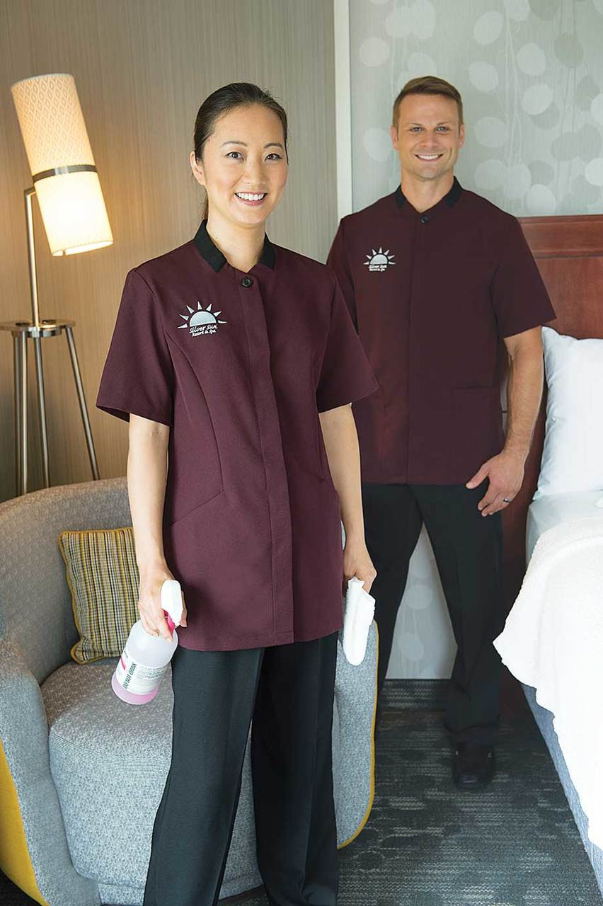 Black, brown, and merlot housekeeping tunic tops