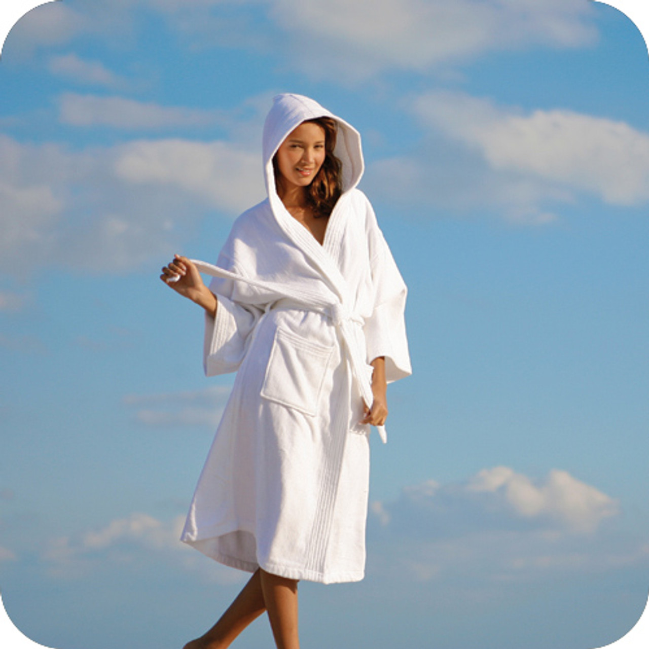 This hotel bathrobe is super cute with a hood!