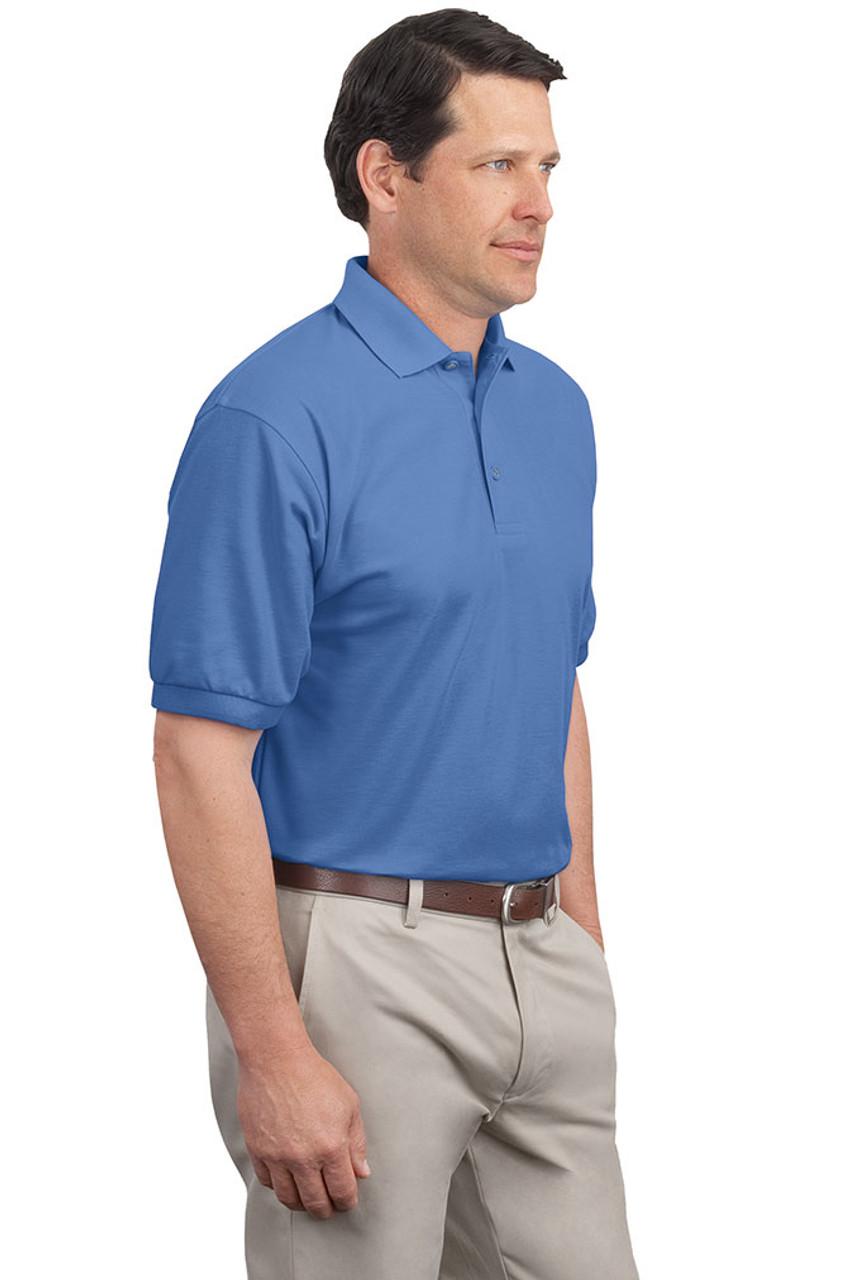 Blue men's silk sports shirt