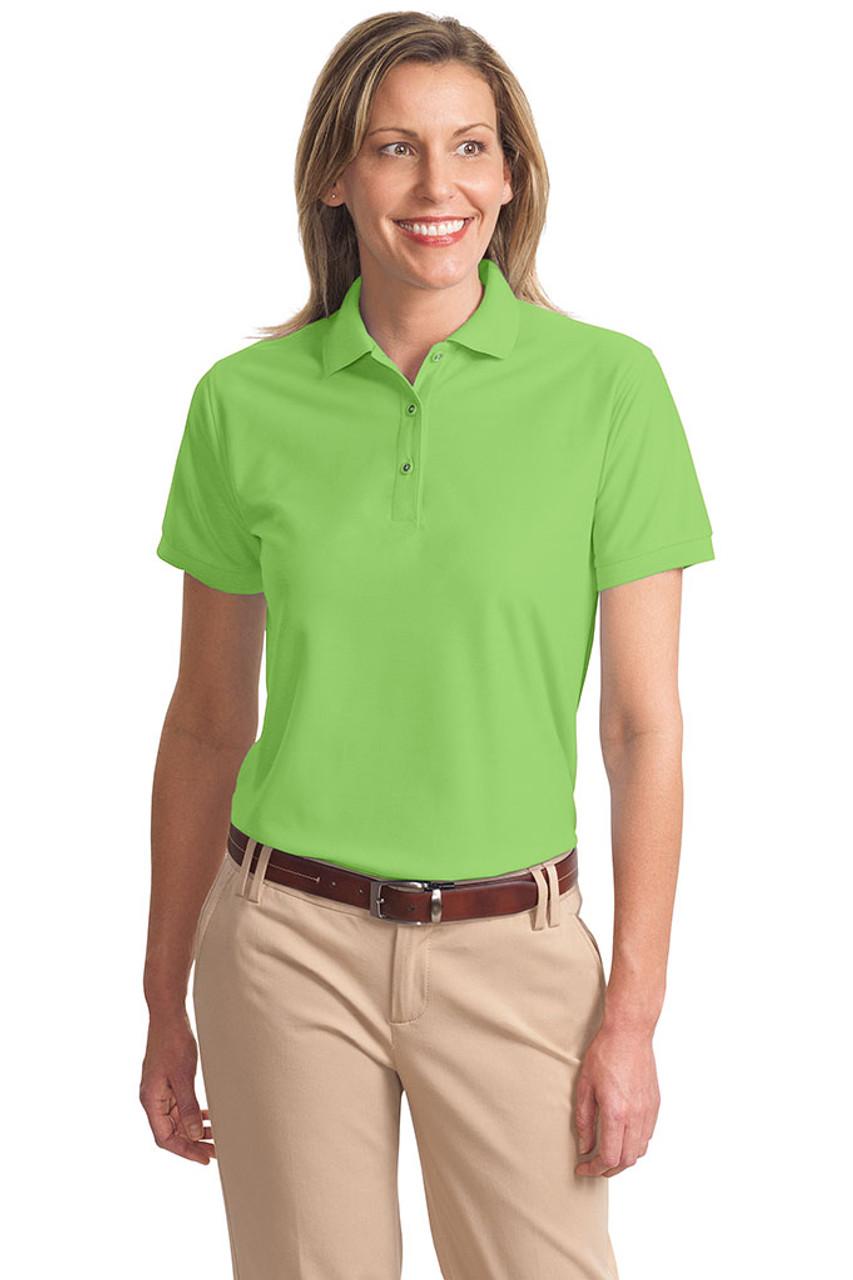 Green women's silk sports shirt