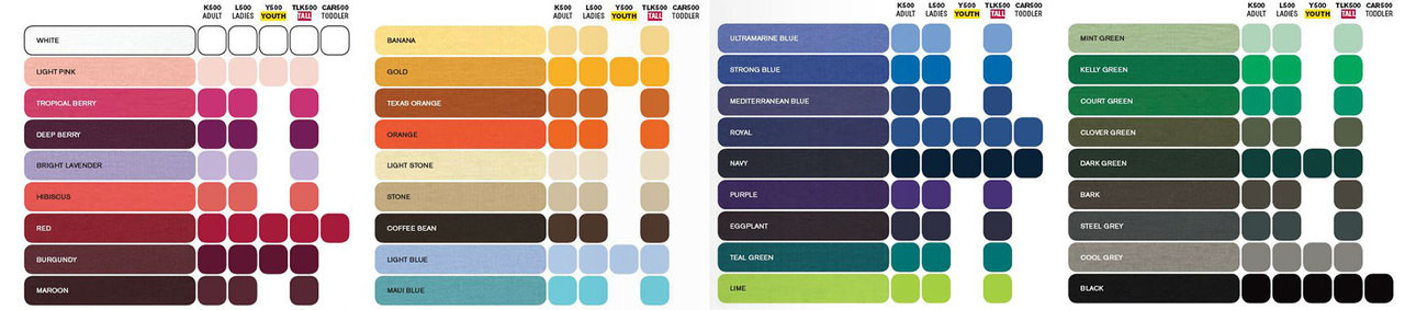 Detailed color chart here
