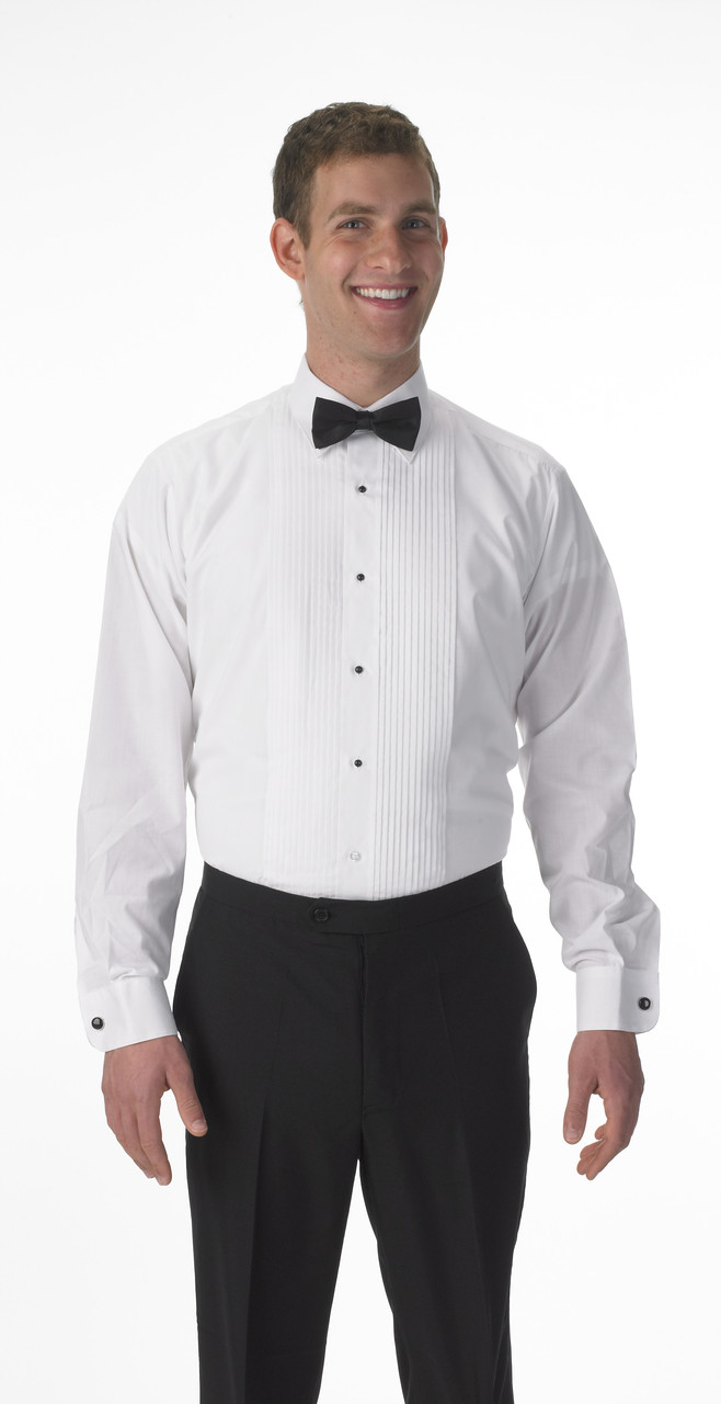 Lay down collar shirt with a bow tie.