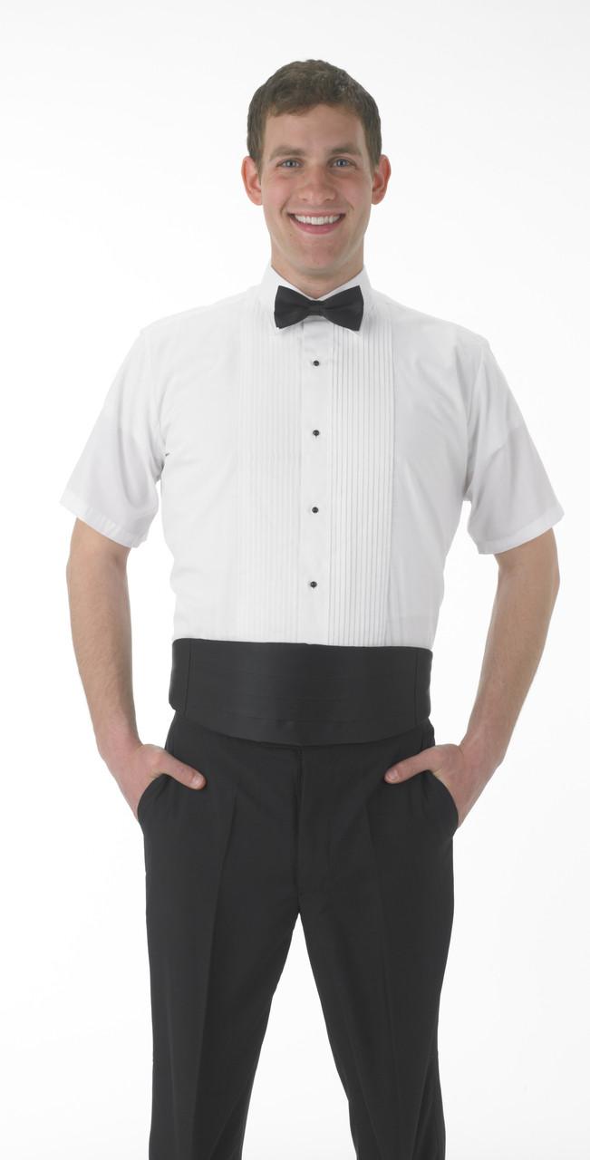 Short sleeve lay down collar tuxedo shirt