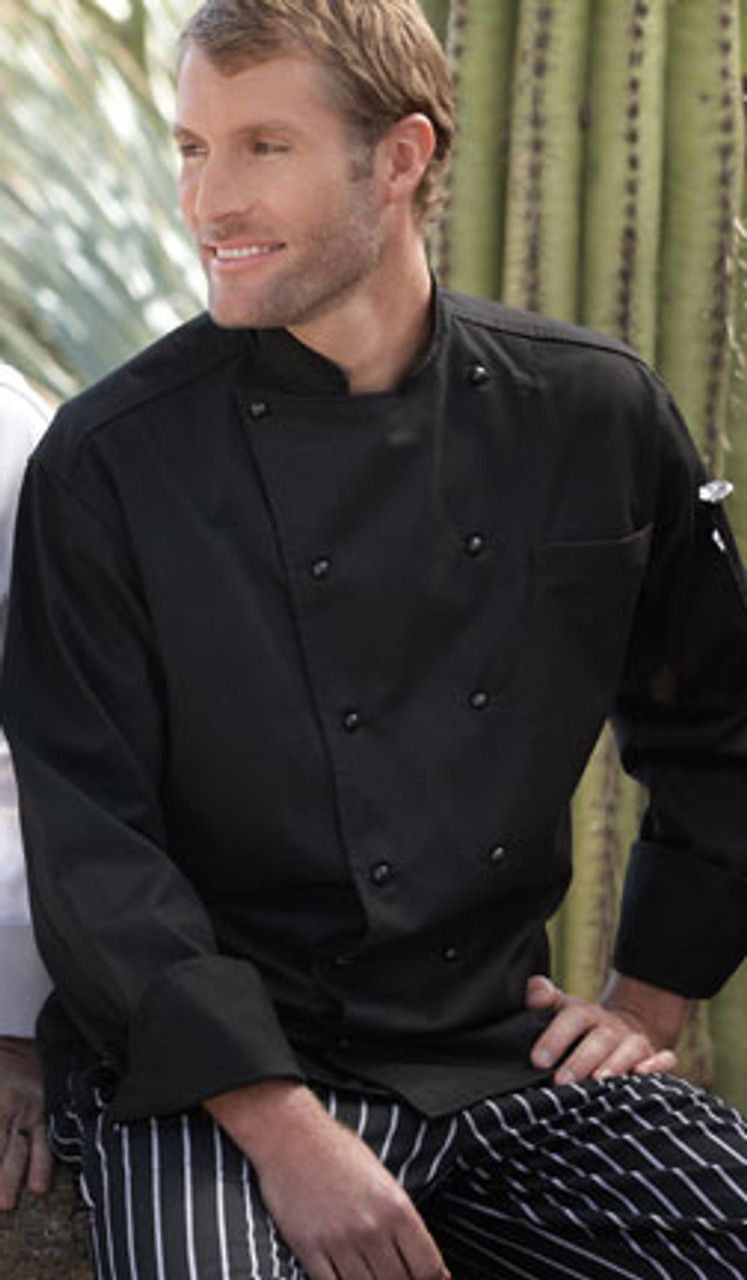 Chef coat with a yoke back and other features
