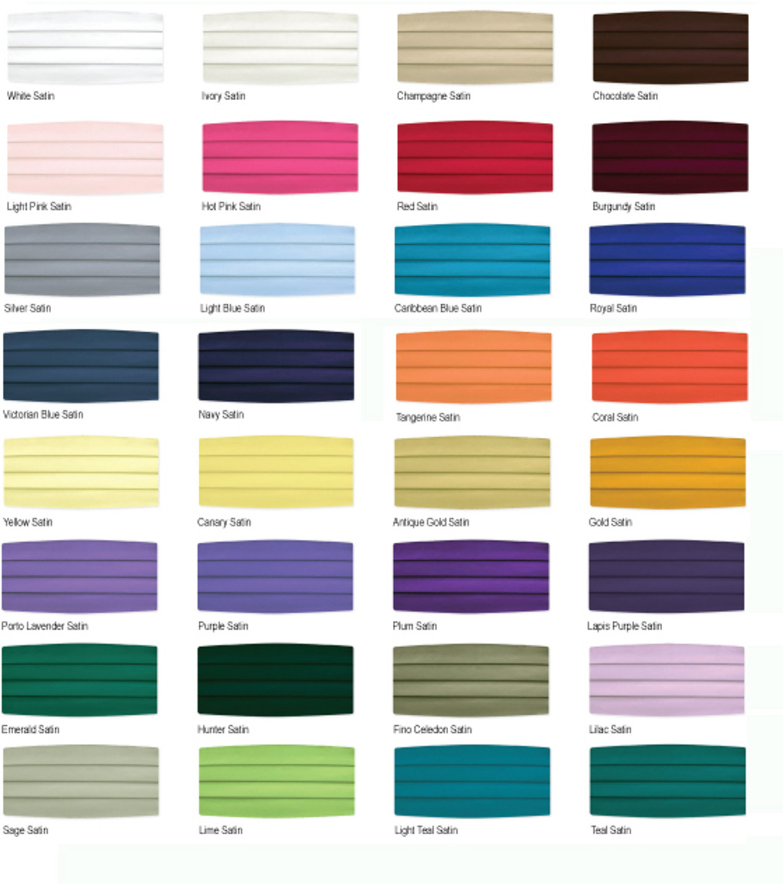 Cummerbunds in every color to choose for your restaurants' uniforms