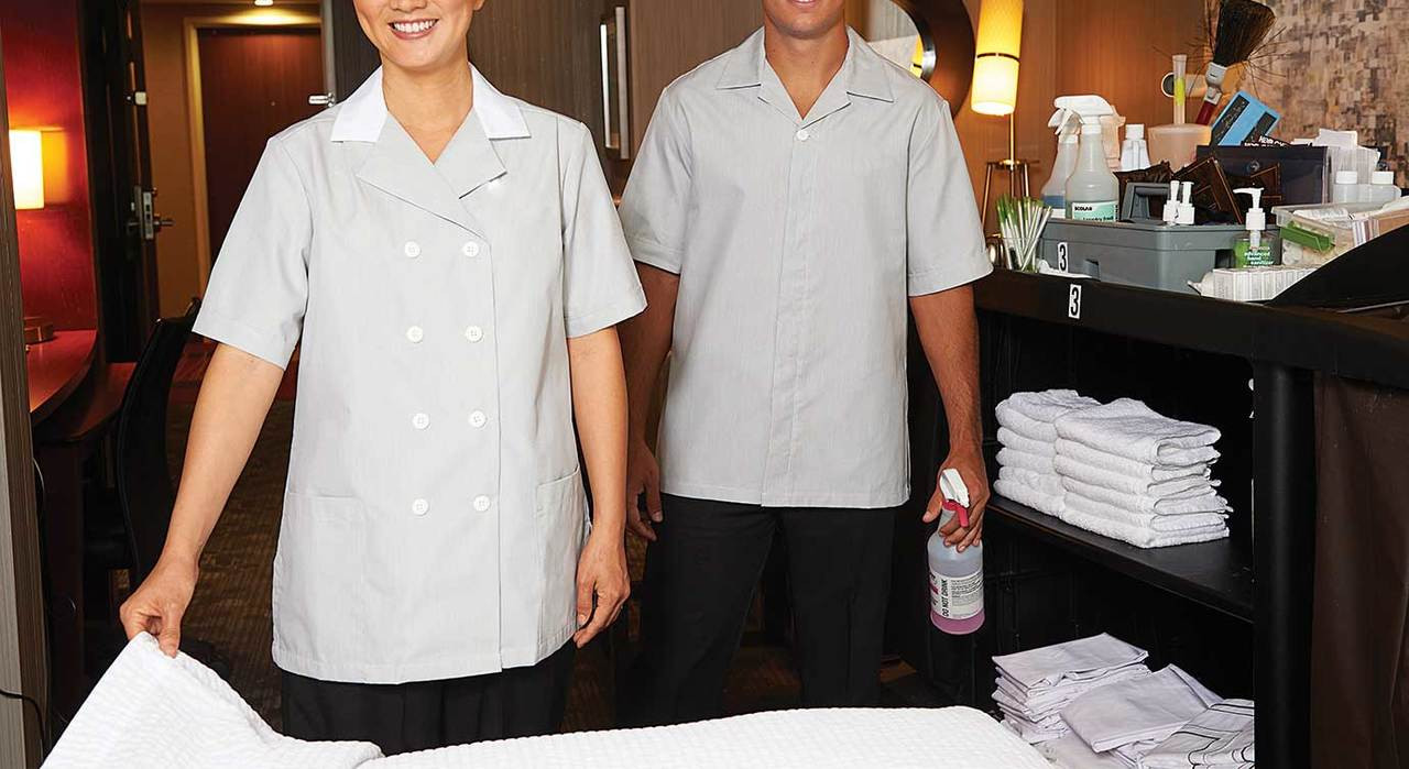 Men's pincord tunic for housekeeping compliments our women's line of pincord tunics.