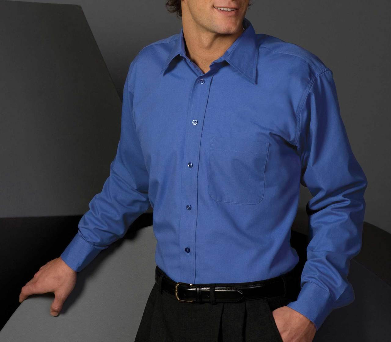 French Blue uniform shirt made from poplin fabric