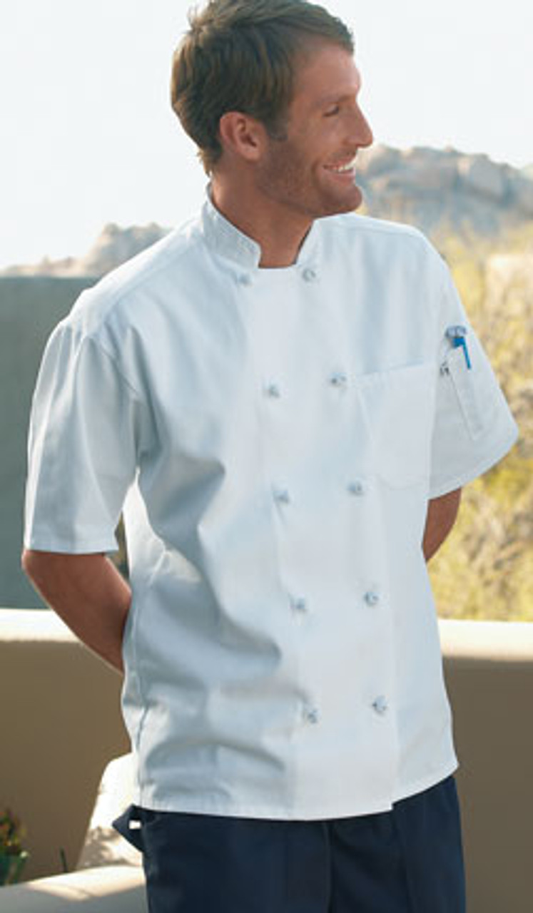 White chef coat with short sleeves