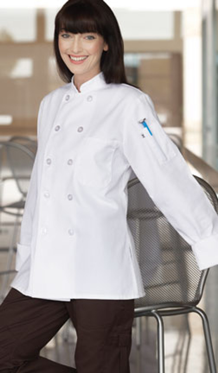 Simple chef coat fitted specifically for ladies