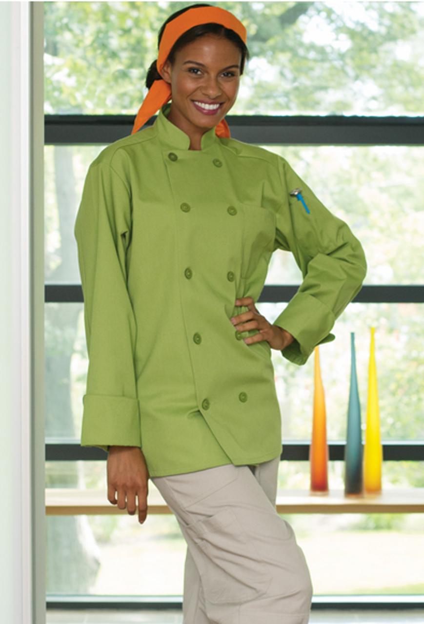 Avocado colored chef coat