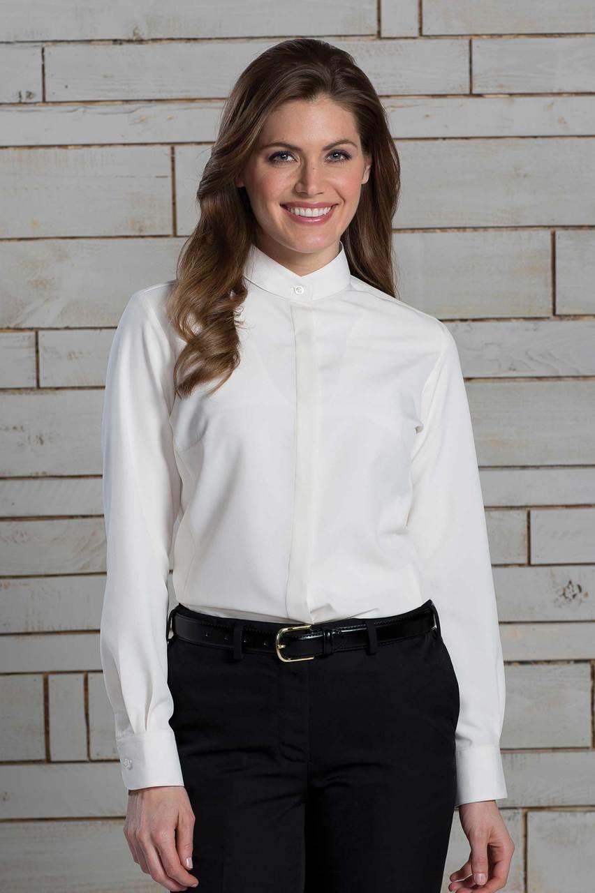 Women's Batiste Banded Collar Waiter Shirt