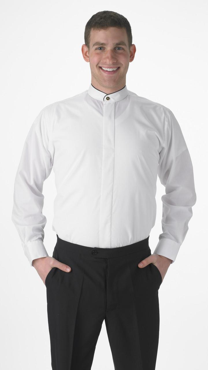 Men's black trimmed banded collar shirt