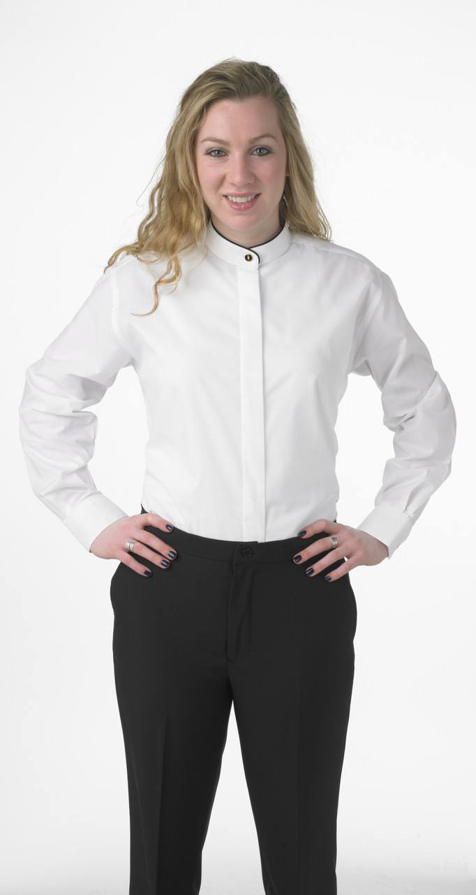 Women's banded collar shirt with black piping