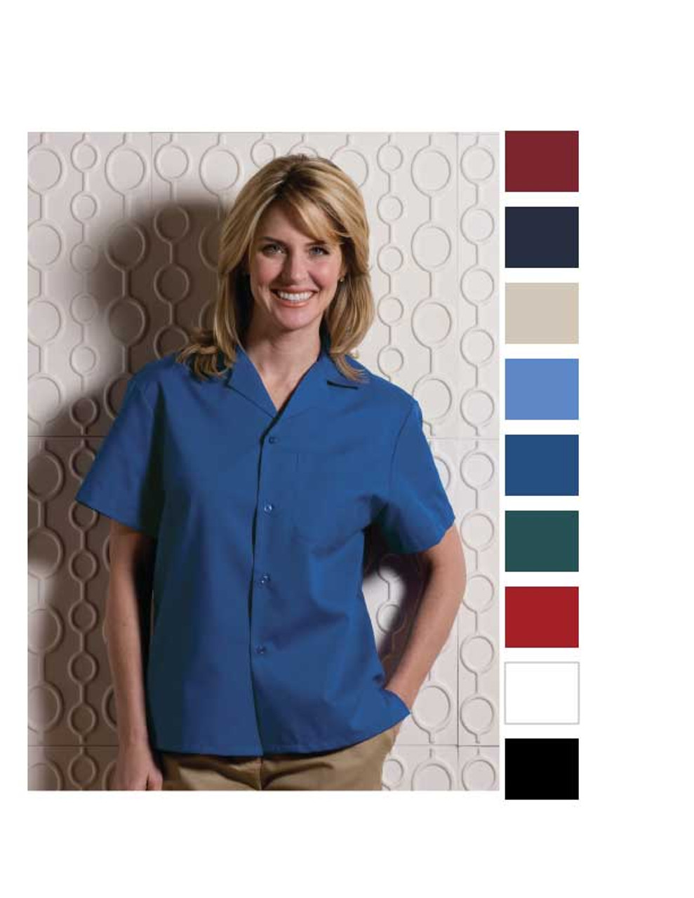 Camp style shirt with easy care guidelines