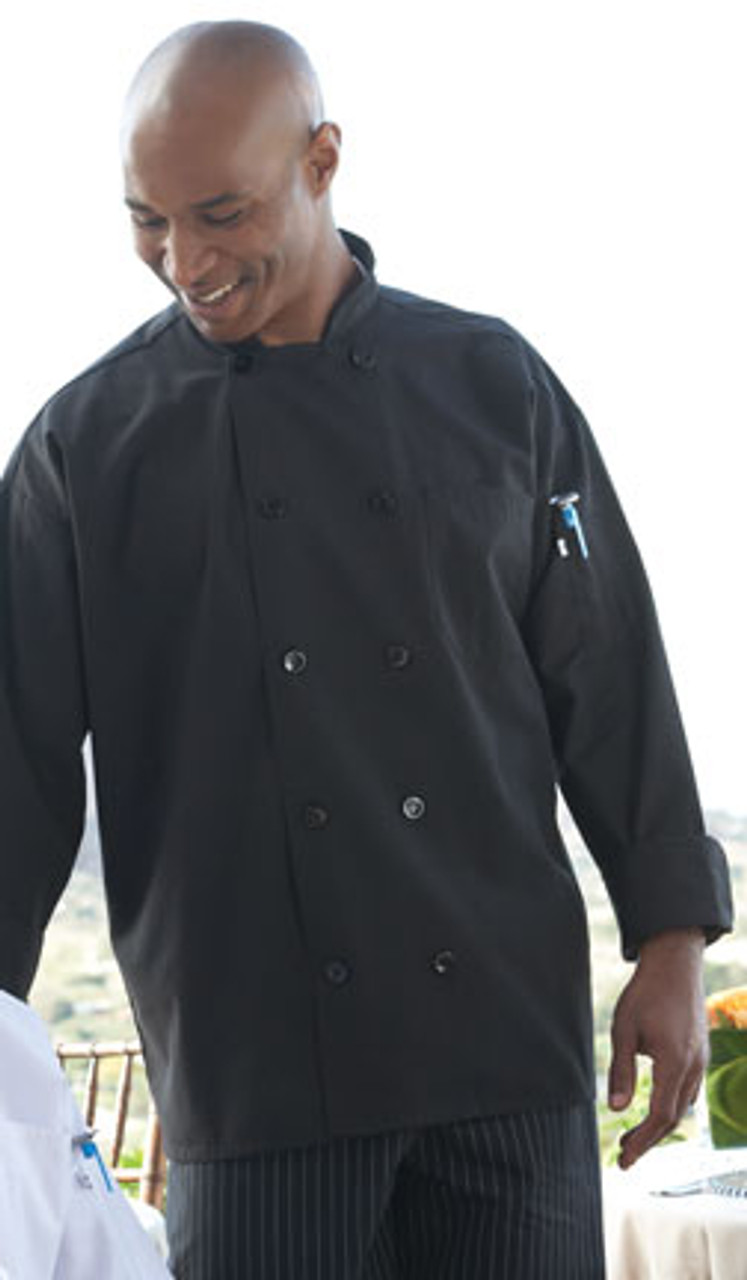Black poplin chef coat