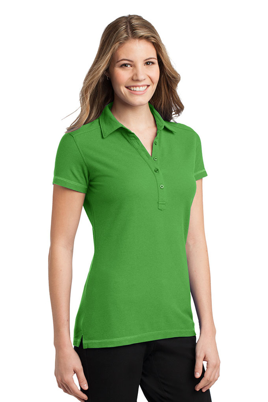 Green stain resistant polo for women