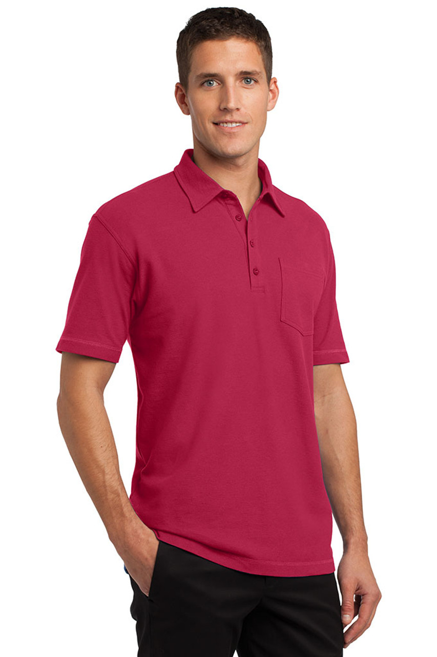 Red stain resistant polo for women