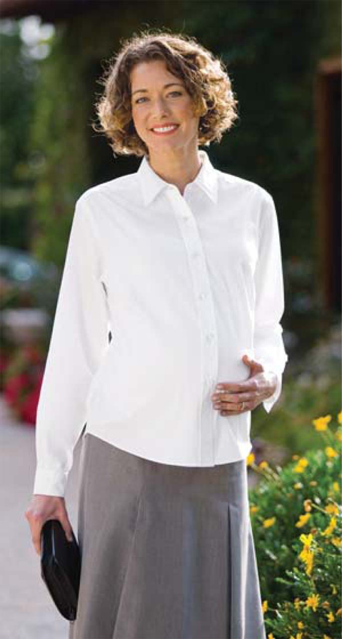 Maternity uniform shirt with easy care guidelines