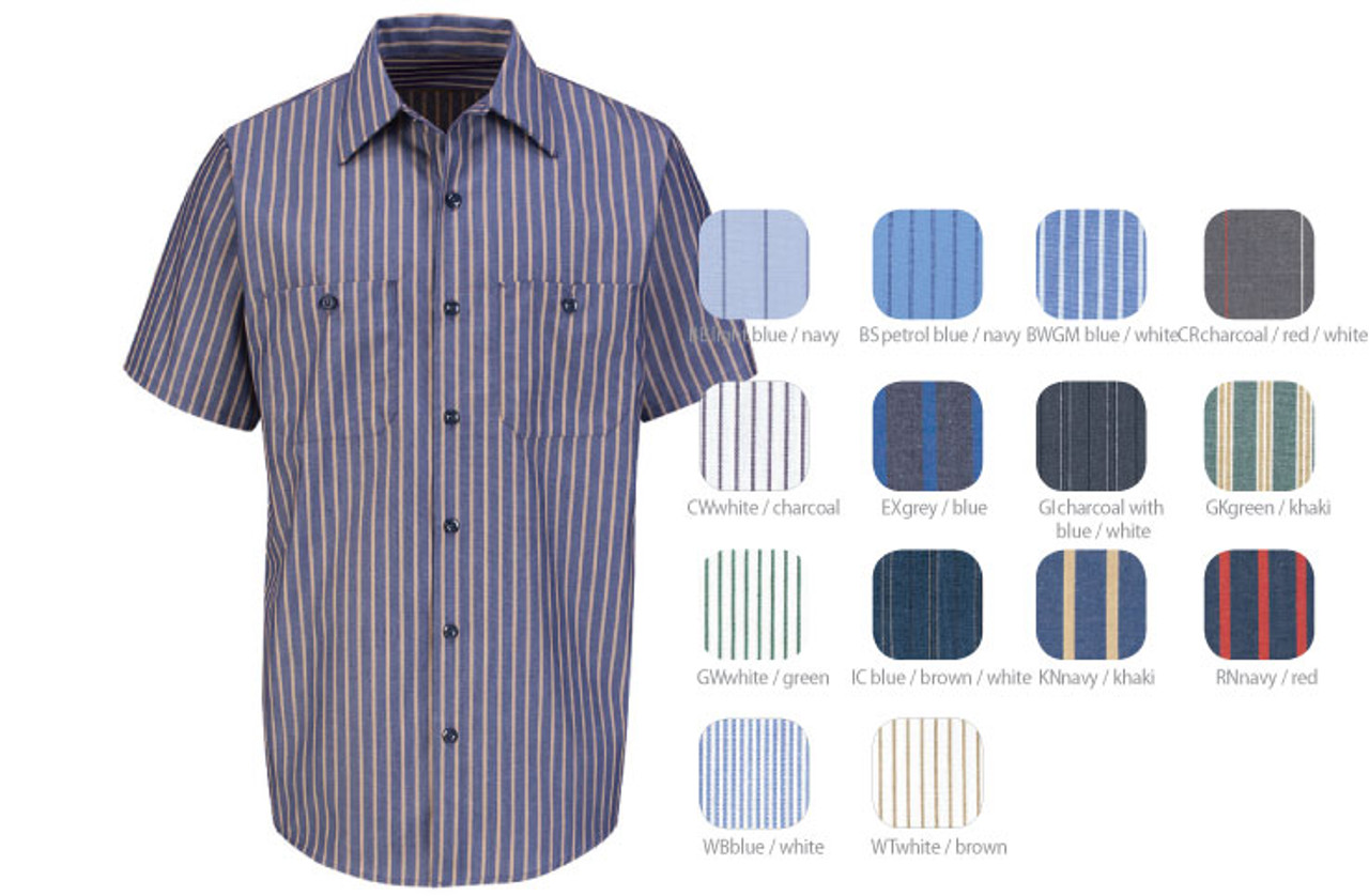 Red Kap Striped Short Sleeve Work Shirt