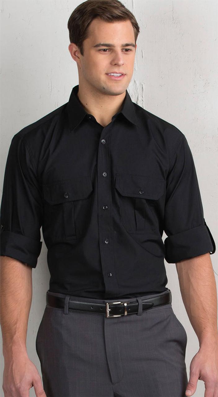 Black rolled sleeve uniform shirt
