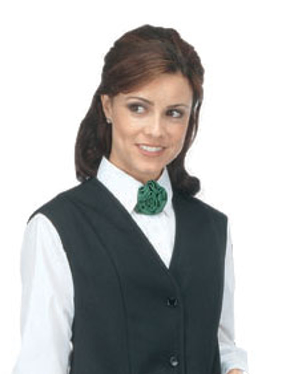 Feminine rosette tie adds a different style to this waitress