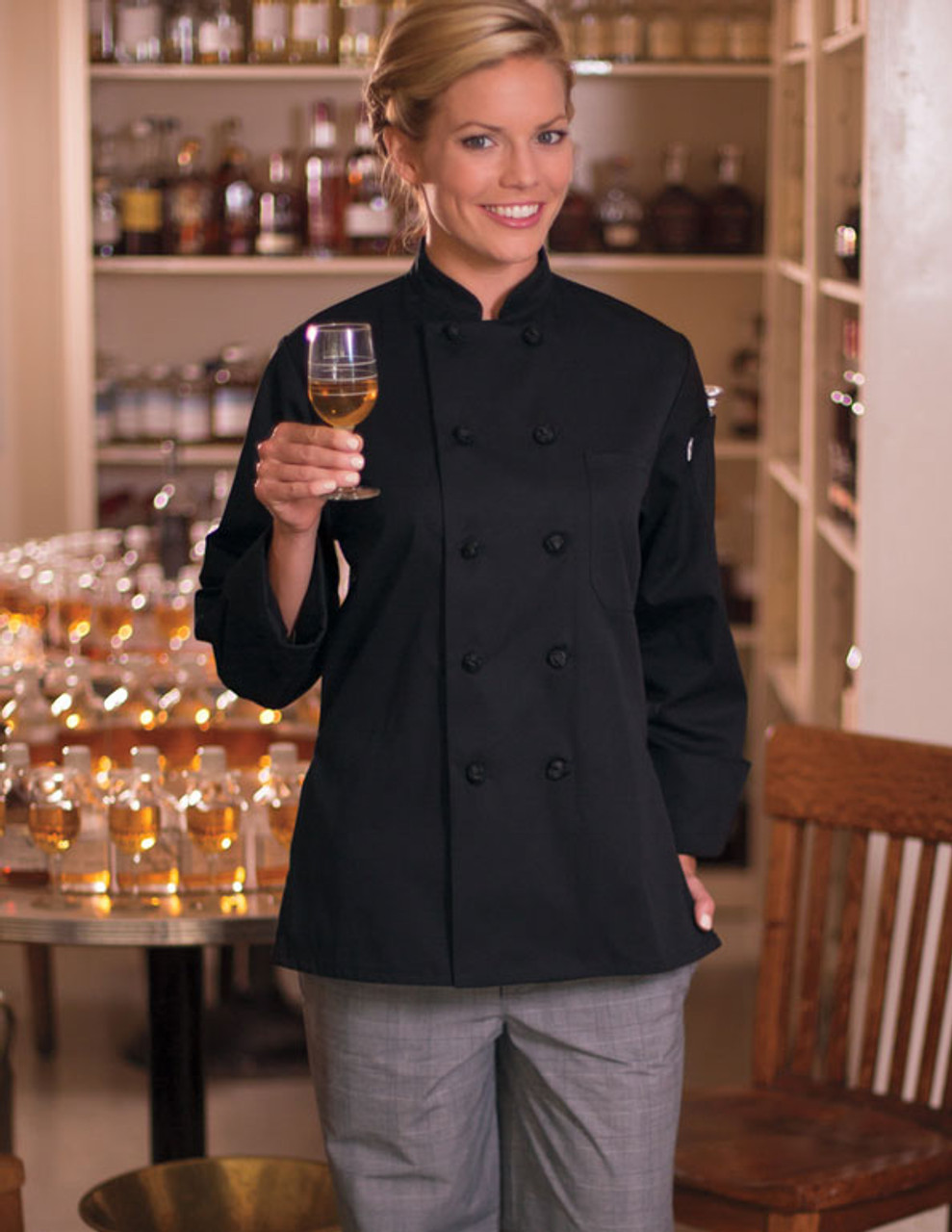 Classy women's fitted chef coat