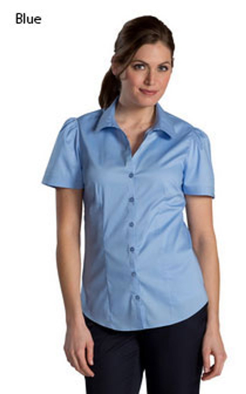 Blue short sleeve stretch blouse