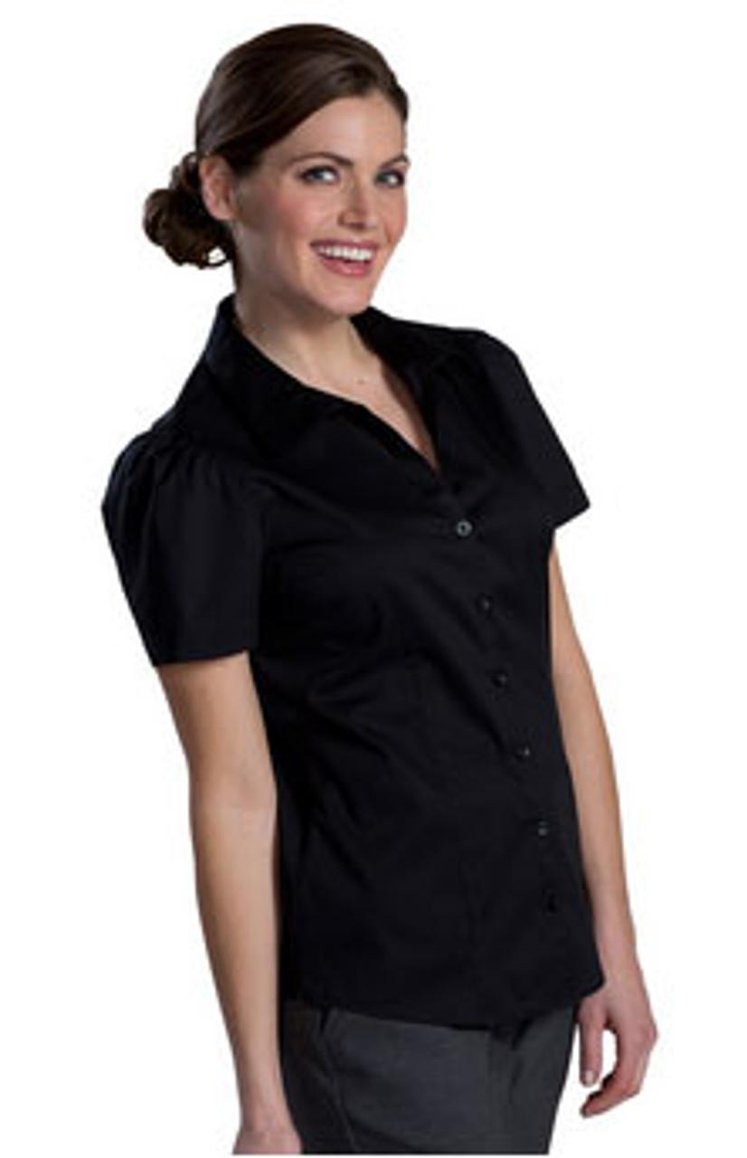 Black short sleeve stretch blouse