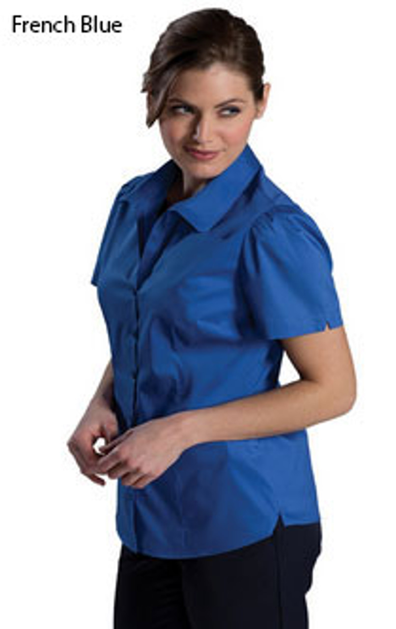 French Blue short sleeve stretch blouse