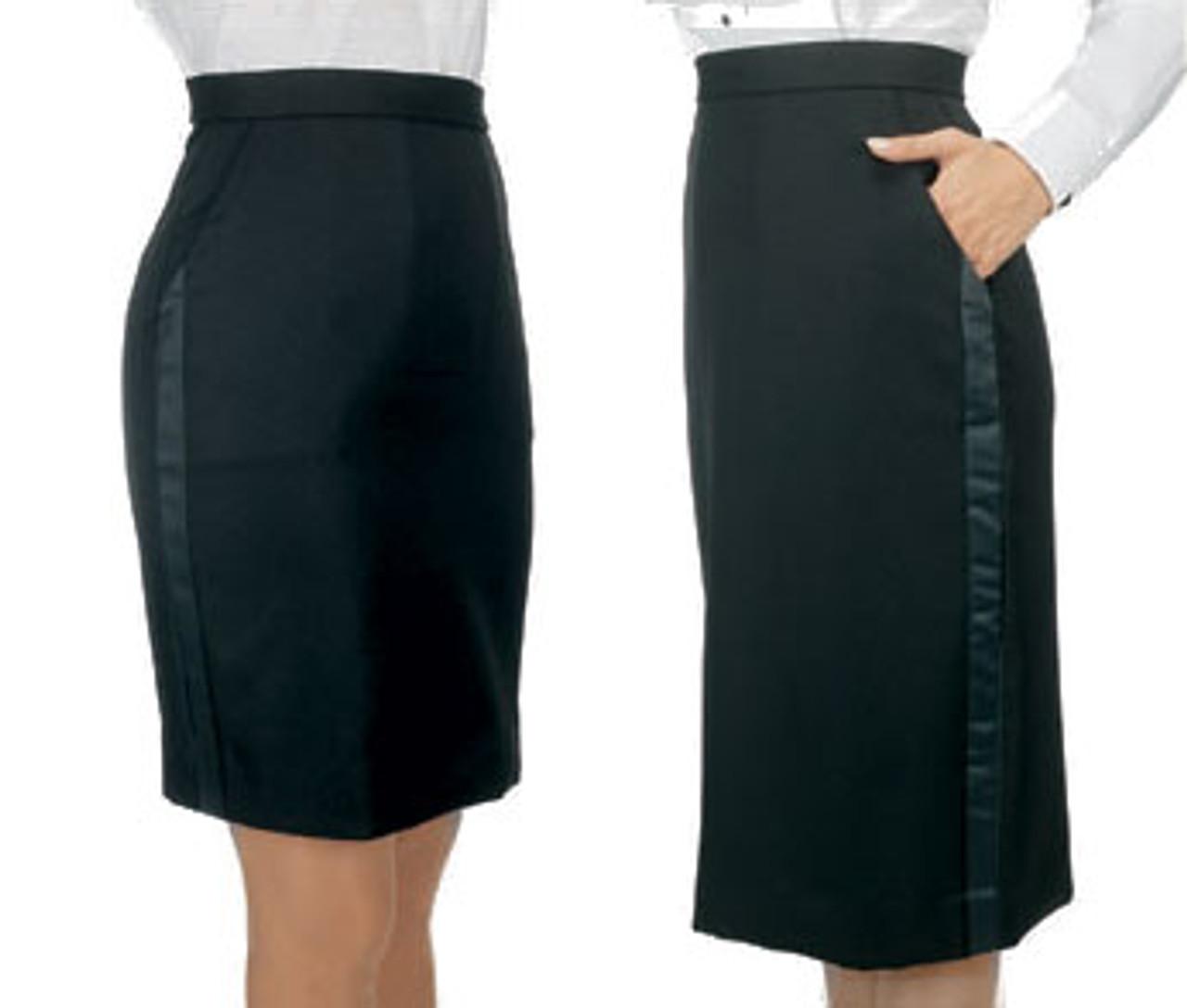Above or below the knee tuxedo skirt