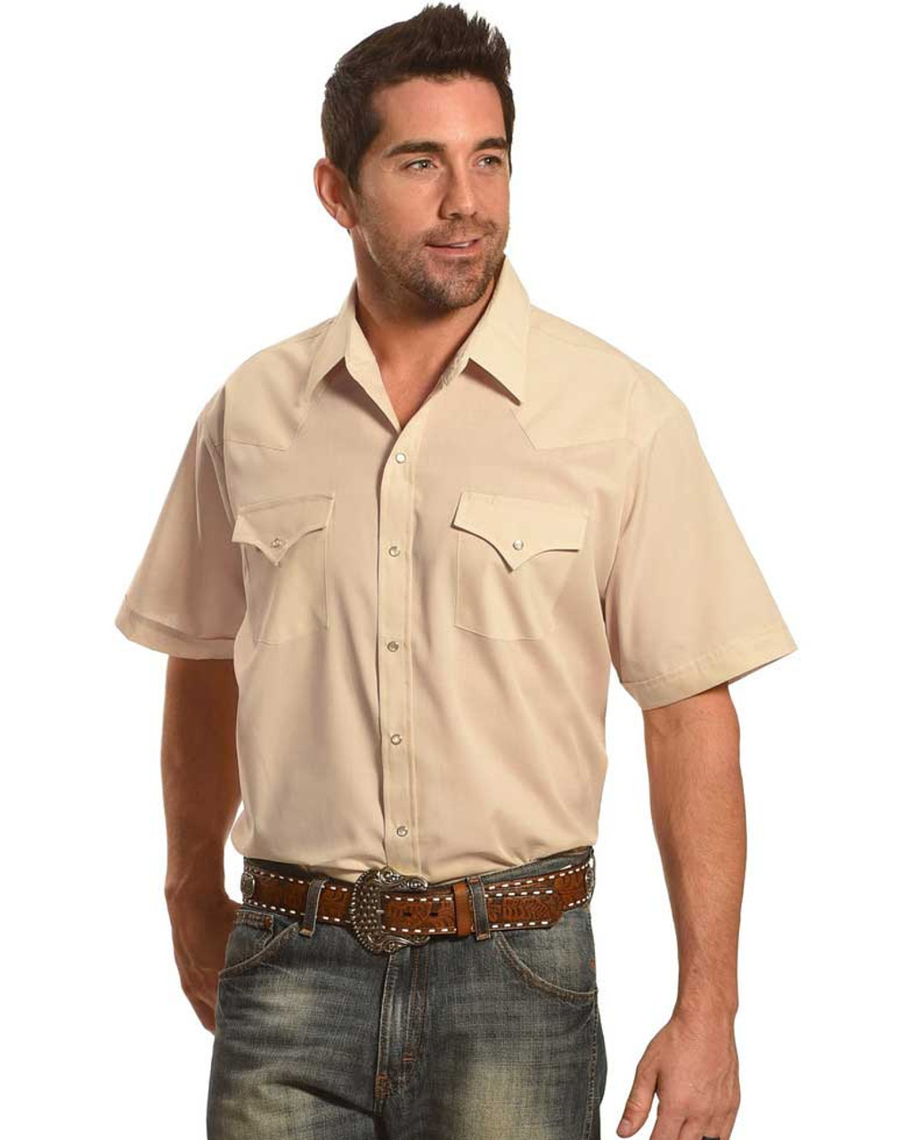 Short Sleeve Solid Western Shirt