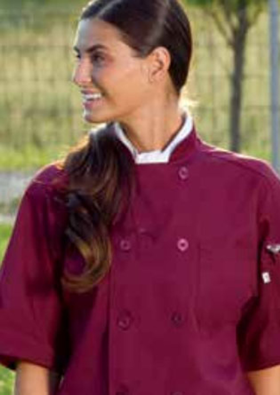 Burgundy chef coat with short sleeves
