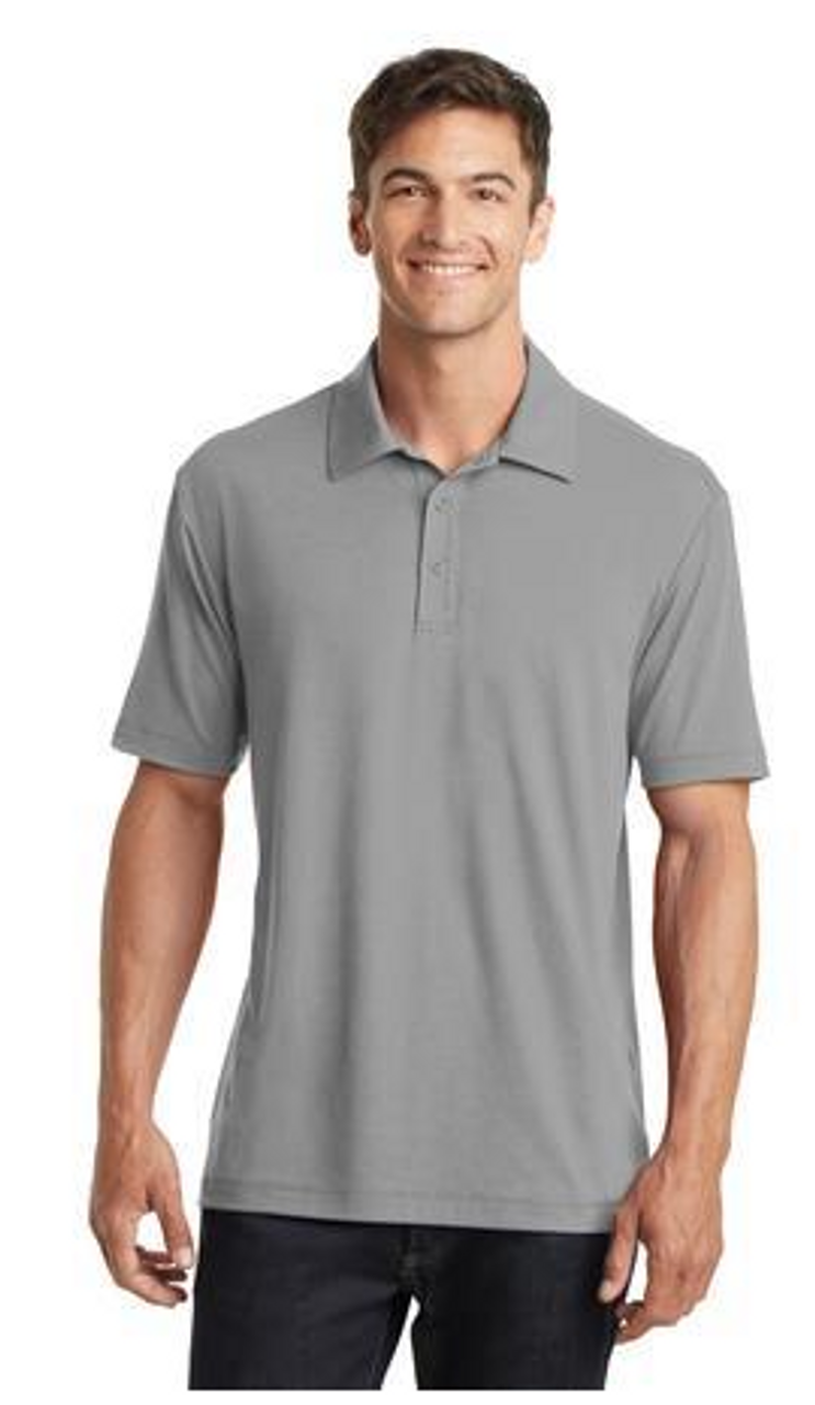 Frost Grey stretch spandex polo shirt