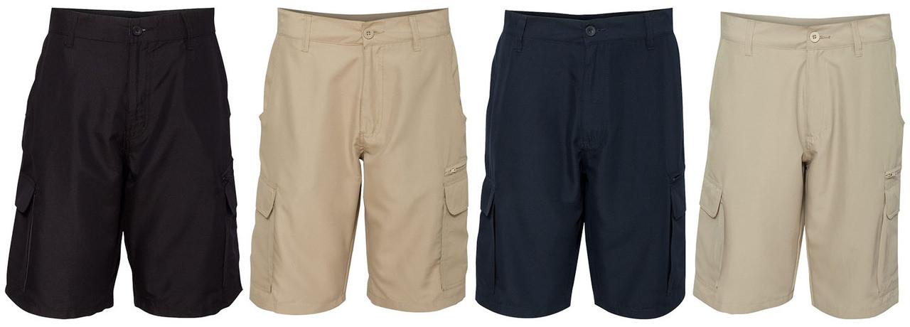 Cargo pocket shorts available in Black, Navy, Stone, and Khaki
