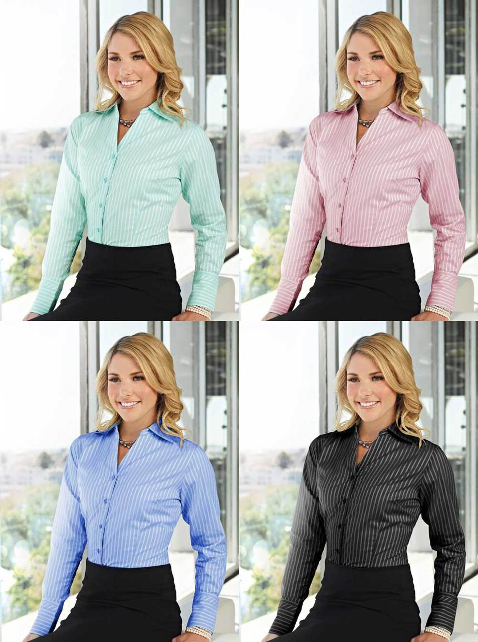 Open neck uniform blouse in different colors
