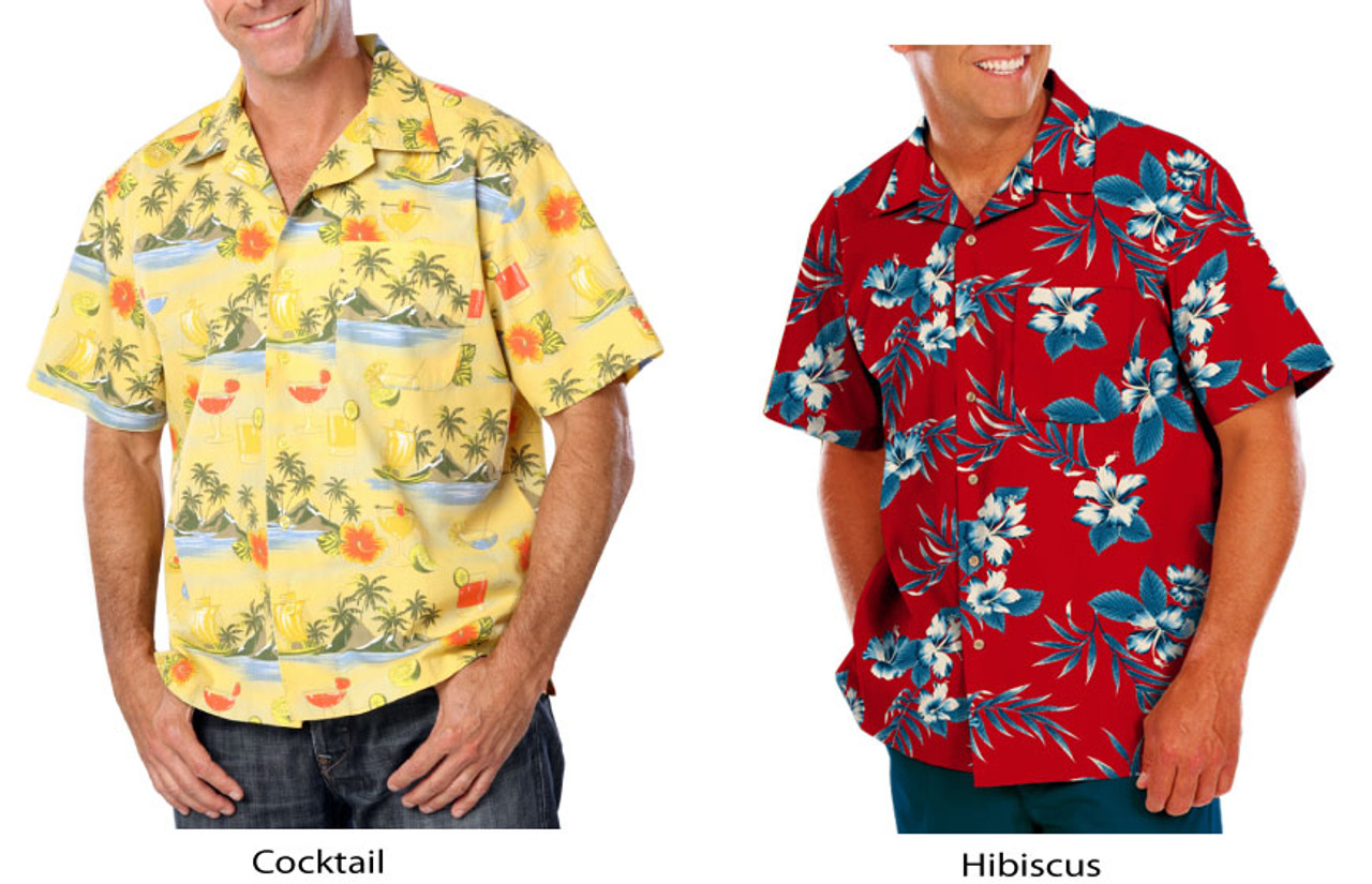 Cocktail and Hibiscus pattern camp shirts