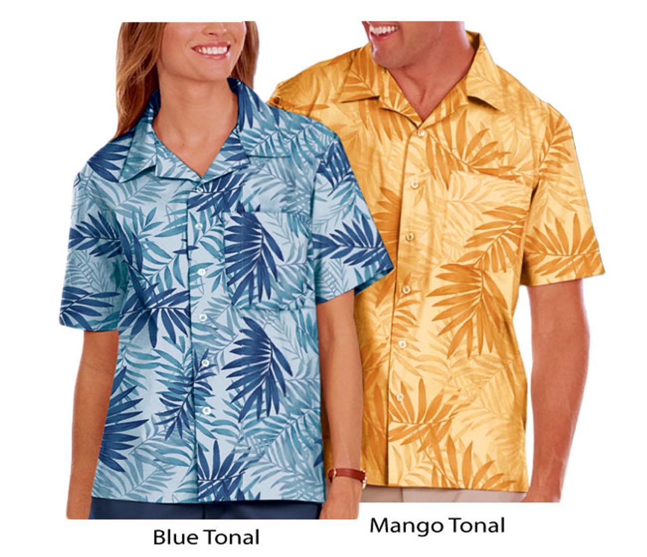 Blue tonal and mango tonal camp shirts
