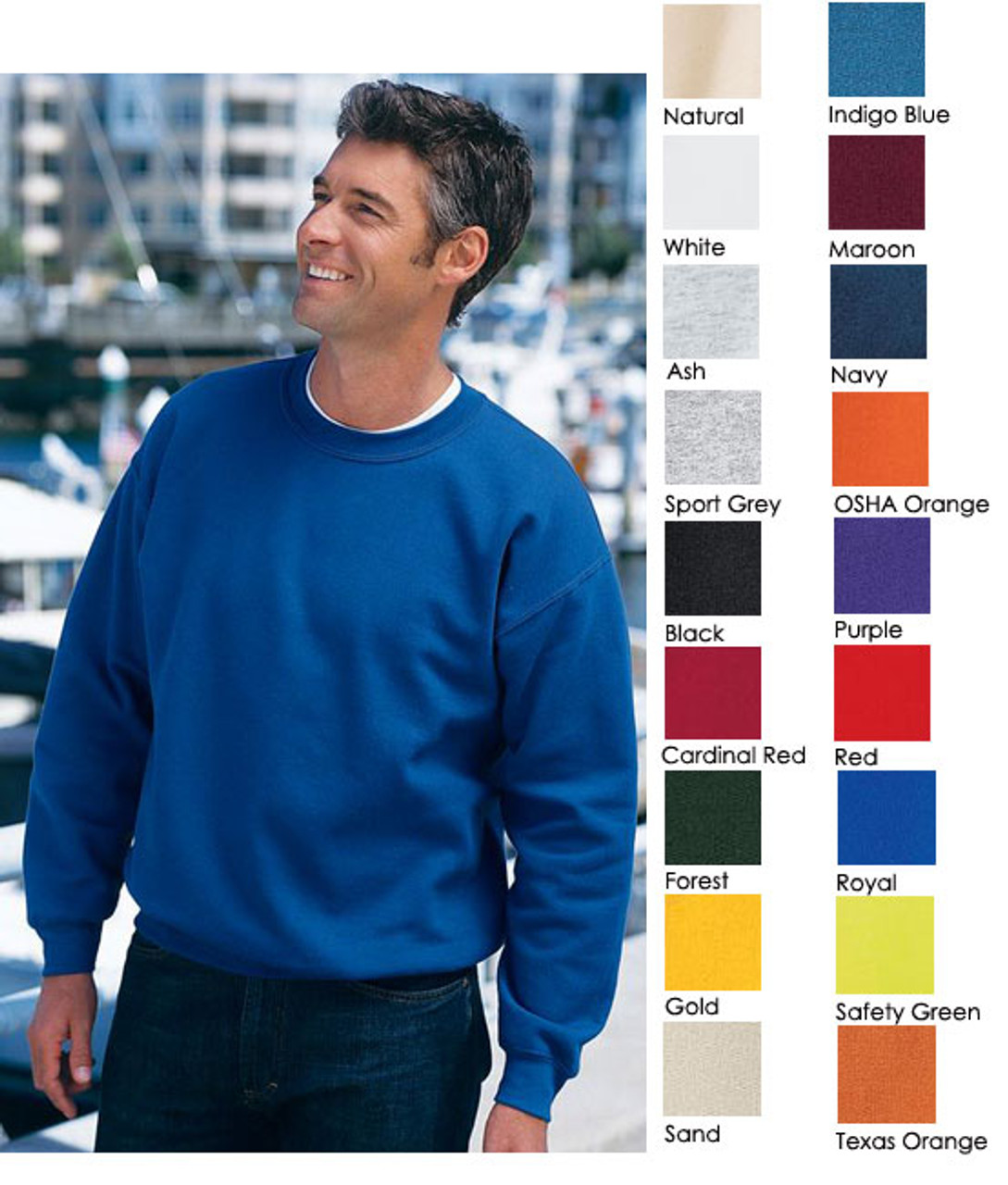 Basic crewneck sweatshirt will look great with your logo on it!
