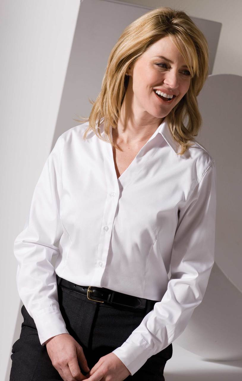 V-Neck Tailored Stretch Broadcloth Blouse