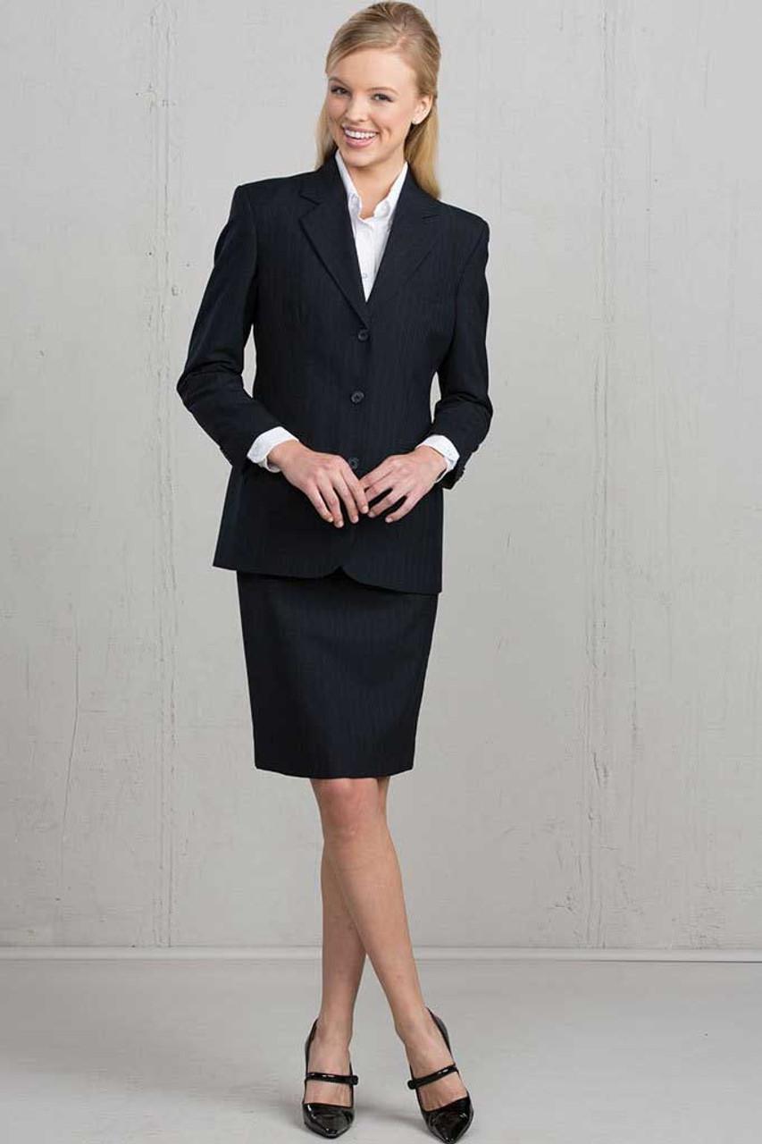 Edwards WOMENS PINSTRIPE WOOL BLEND SUIT COAT